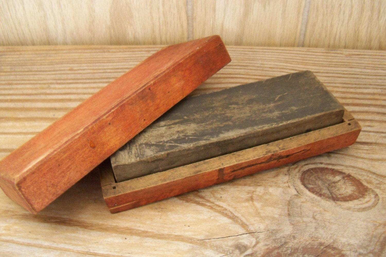 Antique Hone Sharpening Stone Wood Box