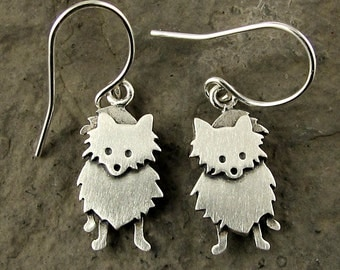 Tiny Pomeranian earrings