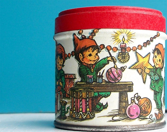 Vintage Mini Elf Workshop Tin