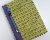 Fabric Journal Cover Notebook A5 Lime Stipes By BonTons on Etsy