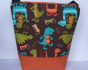 SALE Insulated Lunch Bag Tote Zip Eco Friendly Dino Chomp Boy Lunch Bag by BonTons on Etsy