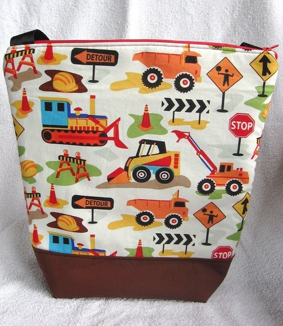 Insulated Lunch Bag Tote Large Construction Zone Boy Washable Lunch Bag by BonTonsGifts on Etsy