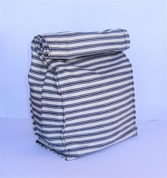 Fabric Paper Bag Lunch Bag Eco Friendly Navy Stripes by BonTonsGifts on Etsy