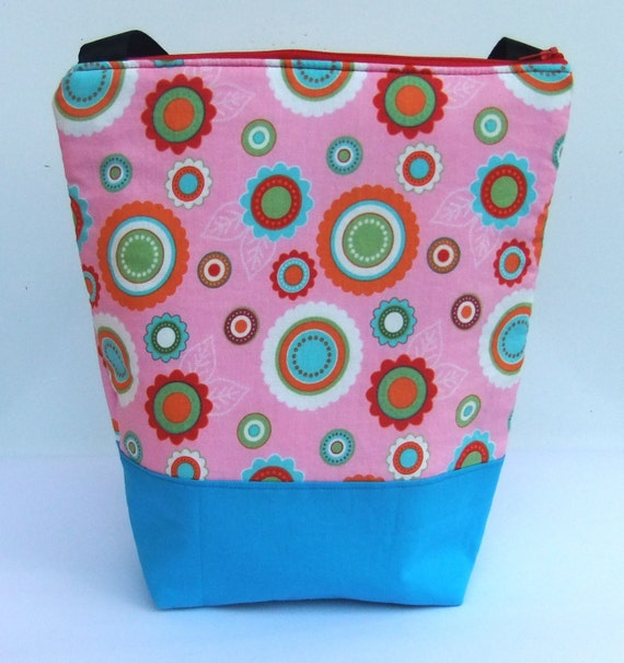 Insulated  Lunch Bag Tote - Zip Eco Friendly Pink Flower by BonTonsGifts on Etsy