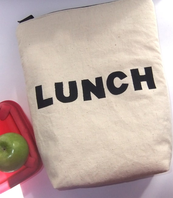 Insulated Lunch Bag Tote  Eco Friendly Zip  LUNCH Bag Organic cotton Hemp By bontons on Etsy