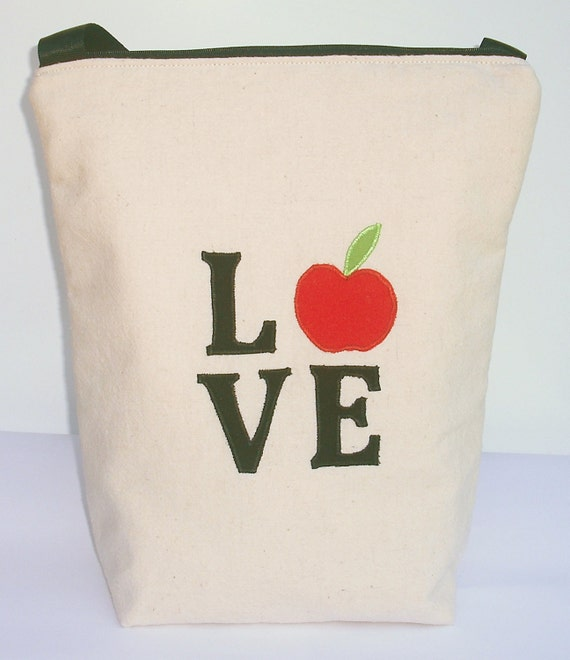 Insulated Lunch Bag Tote  Eco Friendly Zip Valentine Love Lunch Bag by BonTons on Etsy