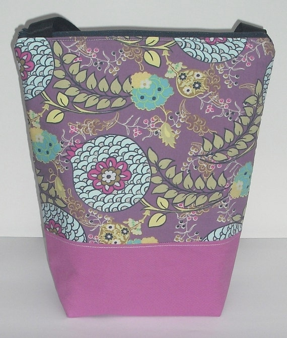 Insulated  Lunch Bag Tote - Zip Eco Friendly Fresh Flowers by BonTonsGifts on Etsy