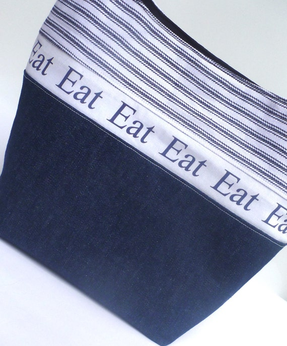 Insulated Lunch Bag Tote Eco Friendly Eat Navy Blue Lunch Bag by BonTons on Etsy