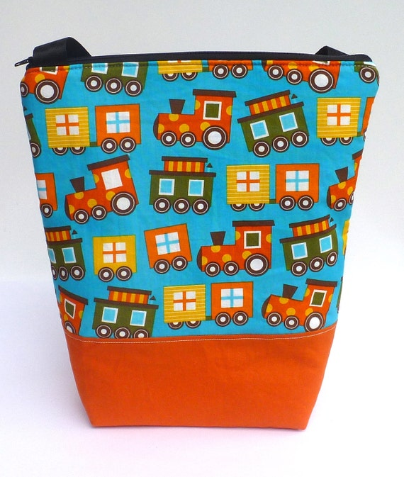 SALE Insulated  Lunch Bag Tote Zip Eco Friendly Boy Lunch Bag Train BonTonsGifts on Etsy