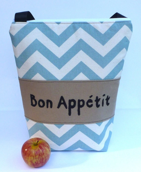 Insulated Lunch Bag Tote  Eco Friendly Zip Blue Chevron Stripe Bon Appetit Lunch Bag by BonTons on Etsy