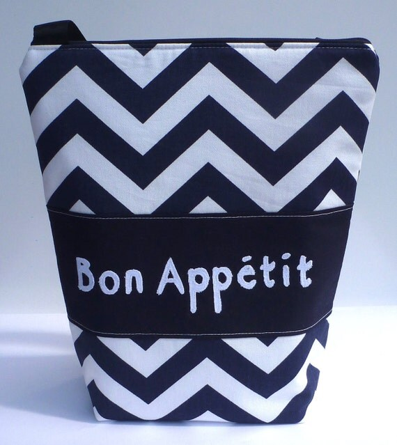 Insulated Lunch Bag Tote  Eco Friendly Zip Bon Appetit Lunch Bag Navy Stripe Chevron by BonTons