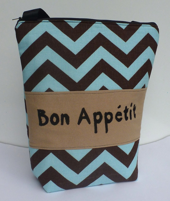 Insulated Lunch Bag Tote  Eco Friendly Zip Bon Appetit Lunch Bag Chocolate Brown Blue Chevron Stripe by BonTons