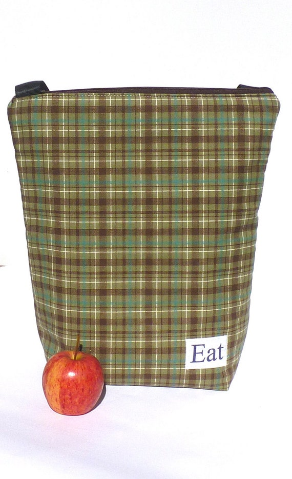Insulated Lunch Bag Tote  Eco Friendly Zip  Dad Plaid Brown Bag by BonTons on Etsy