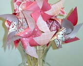 12 Spinning Romance Love Heart Large Twirlable Pinwheels Party Set