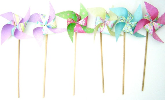 6 PC Large Twirlable Pinwheels Perfect Sparkle Paisley Butterfly Dragonfly set Photo Props Spinning Gourmet Bouquet