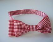 Red check headband