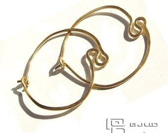 EYELET HOOPS  Earrings 14 Kt Gold filled Thin BBJUDesign