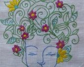 Earth Goddess hand-embroidered picture