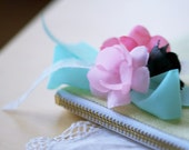 cherry blossoms- linen pouch with a strap
