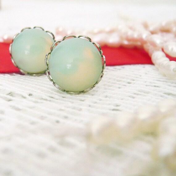 vintage mint-glass post earrings sterling silver