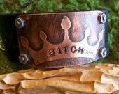 etched metal, copper, cuff, womens jewelry, bracelet, bitch, leather cuff, crown