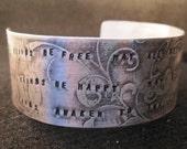 Sterling silver, cuff, bracelet, woman's jewelry, hand stamped, buddha prayer, gift