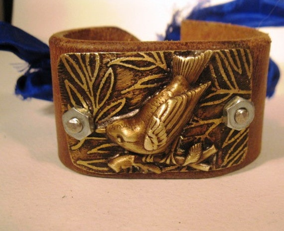 etched metal with bird recycled women's cuff leather jewelry bracelet