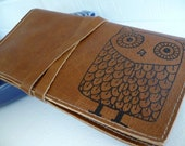 leather pocketbook checkbook cover card wallet handprinted custom for you