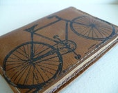leather card wallet handprinted custom for you bicycle