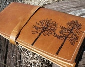 leather wallet checkbook cover pocketbook handprinted custom forest
