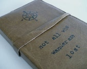 Leather Journal Refillable - Personalized Sketchbook Case - Not all who wander are lost quote