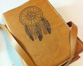 Leather Journal - Leather Sketchbook - Book Cover - Custom - Monogram - Personalize - Dreamcatcher - Refillable