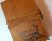 leather handprinted journal sketchbook customized for you train