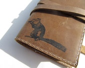 small leather journal handprinted for you custom squirrel