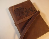 leather journal sketchbook handprinted for you custom diagramed bird