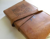 Leather Journal - Leather Sketchbook Cover - Personalize - Monogram - Large Owl