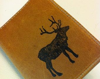 Leather Wallet handmade bifold personalized monogram elk