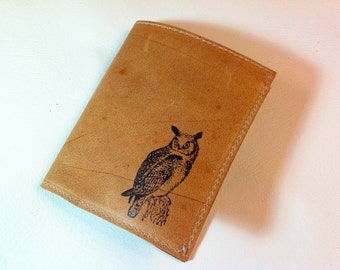 billfold wallet with card slots leather custom for you realistic owl