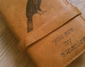 Small Leather Journal - Leather Sketchbook Cover - Personalize - Monogram - You Are My Sunshine - Raven