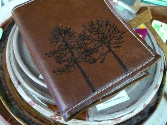 small leather journal\/sketchbook handprinted custom for you forest