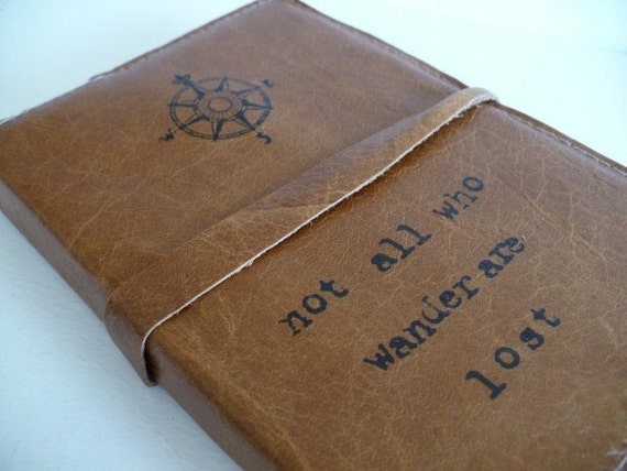 leather journal handprinted custom for you