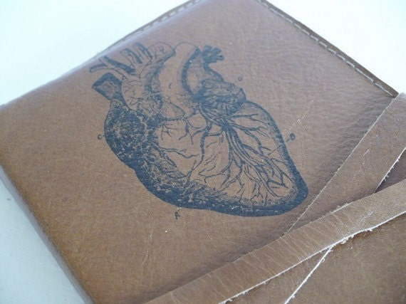 leather journal handprinted custom for you anatomical heart