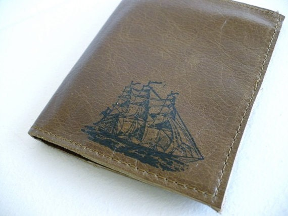 leather billfold walet custom printed for you card slots small ship