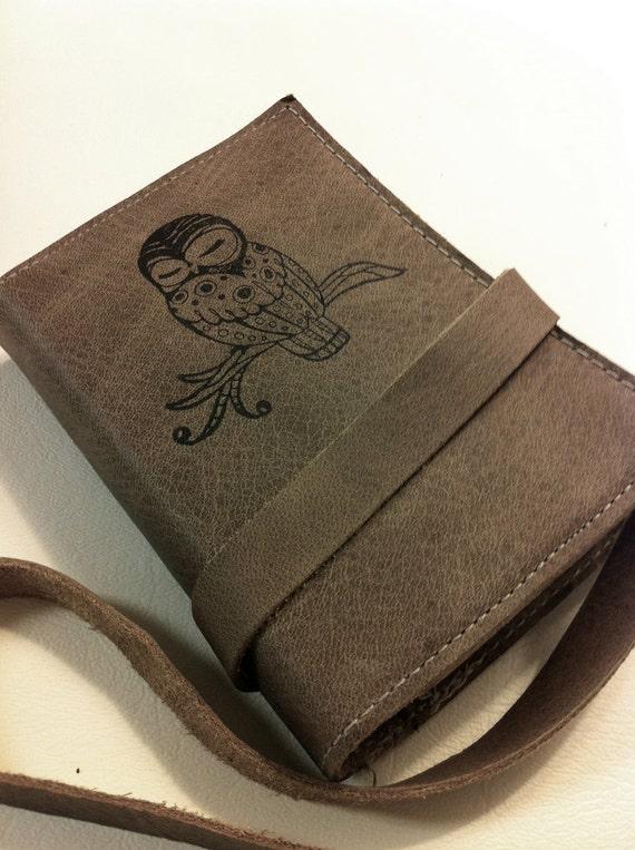 small leather journal/sketchbook hand-printed custom for you sleepy owl