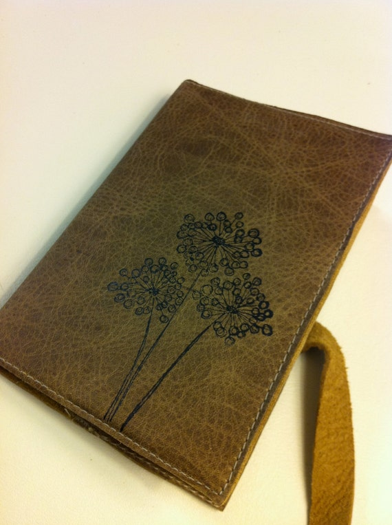 Leather Journal - Leather Sketchbook Cover - Personalize - Monogram - Dandelion