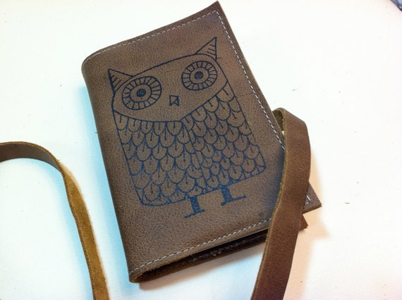 Small Leather Journal - Leather Sketchbook Cover - Personalize - Monogram - Large Owl