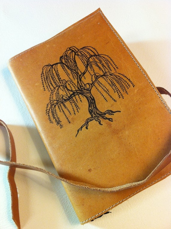 Leather Journal - Leather Sketchbook - Leather tree Journal - monogram - personalize - willow