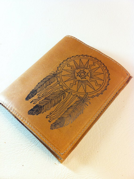 Leather Wallet Bifold Personalized Monogram dreamcatcher