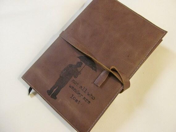 large leather journal sketchbook custom handprinted for you man/umb