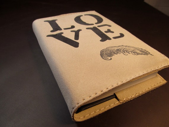 LIMITED EDITION leather journal sketchbook handprinted for you custom LOVE